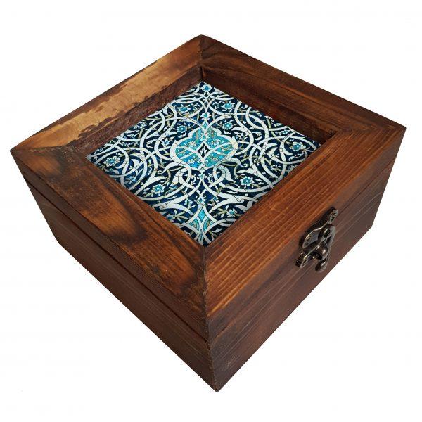 جعبه چوبی طرح کاشی آبی