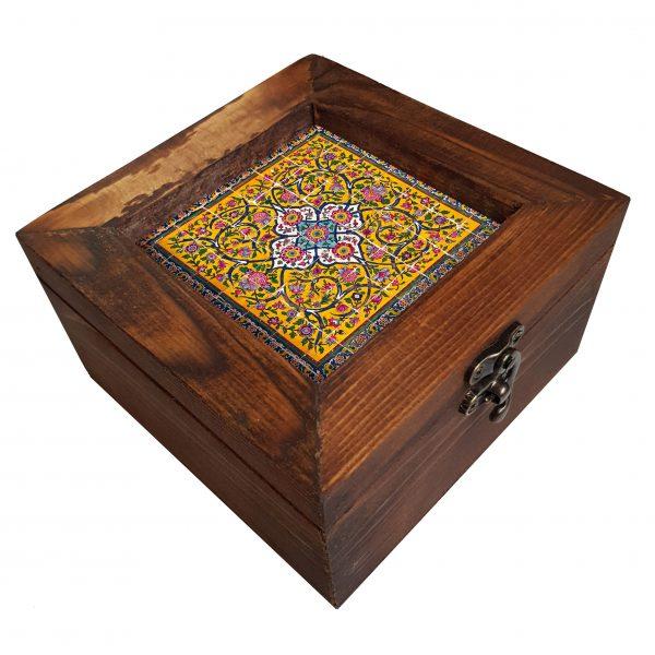 جعبه چوبی طرح کاشی هفت رنگ