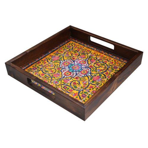 سینی چوبی طرح هفت رنگ