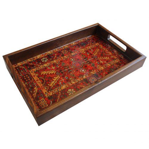 سینی چوبی طرح فرش سنتی
